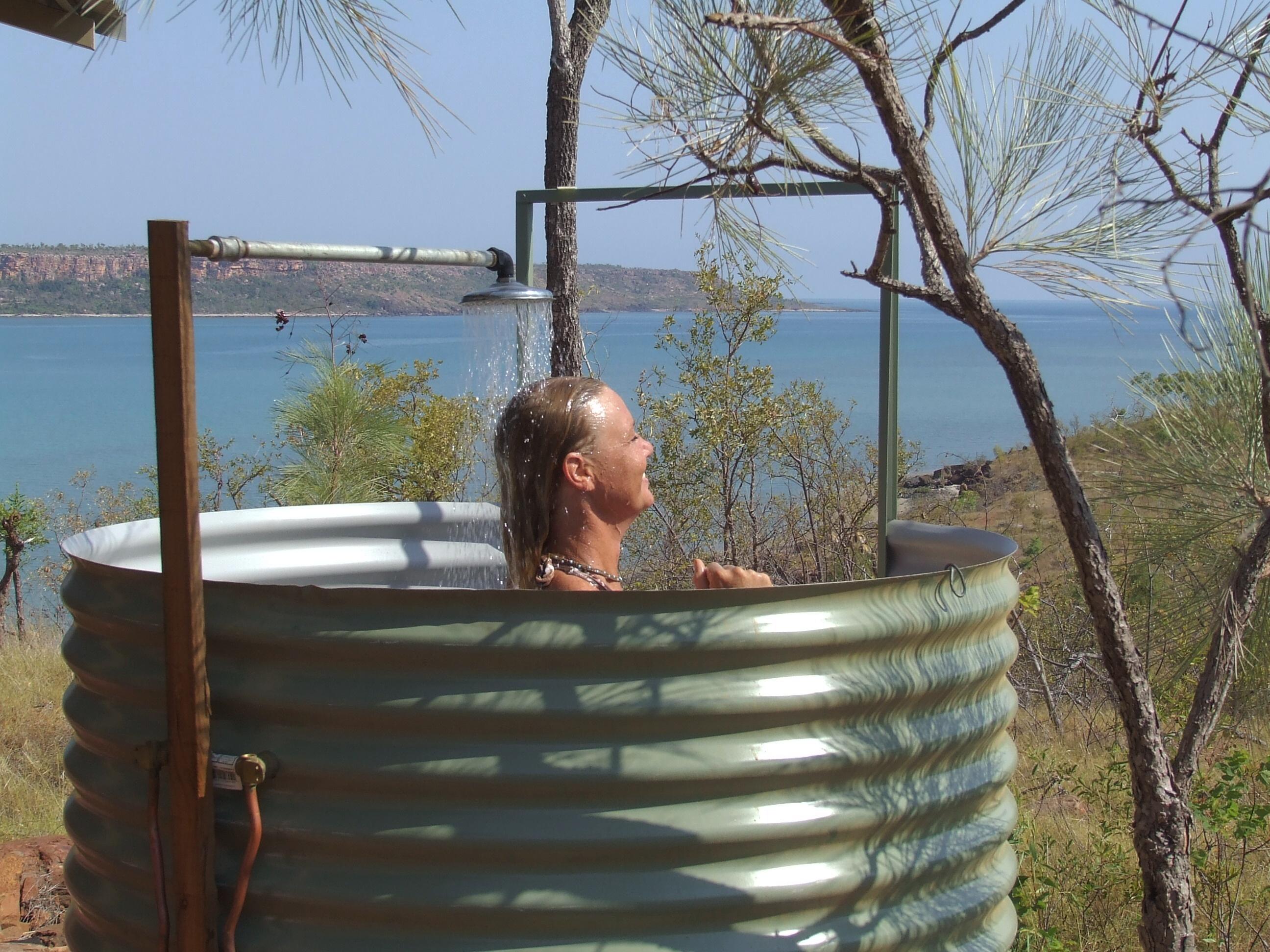 Faraway Bay outdoor shower